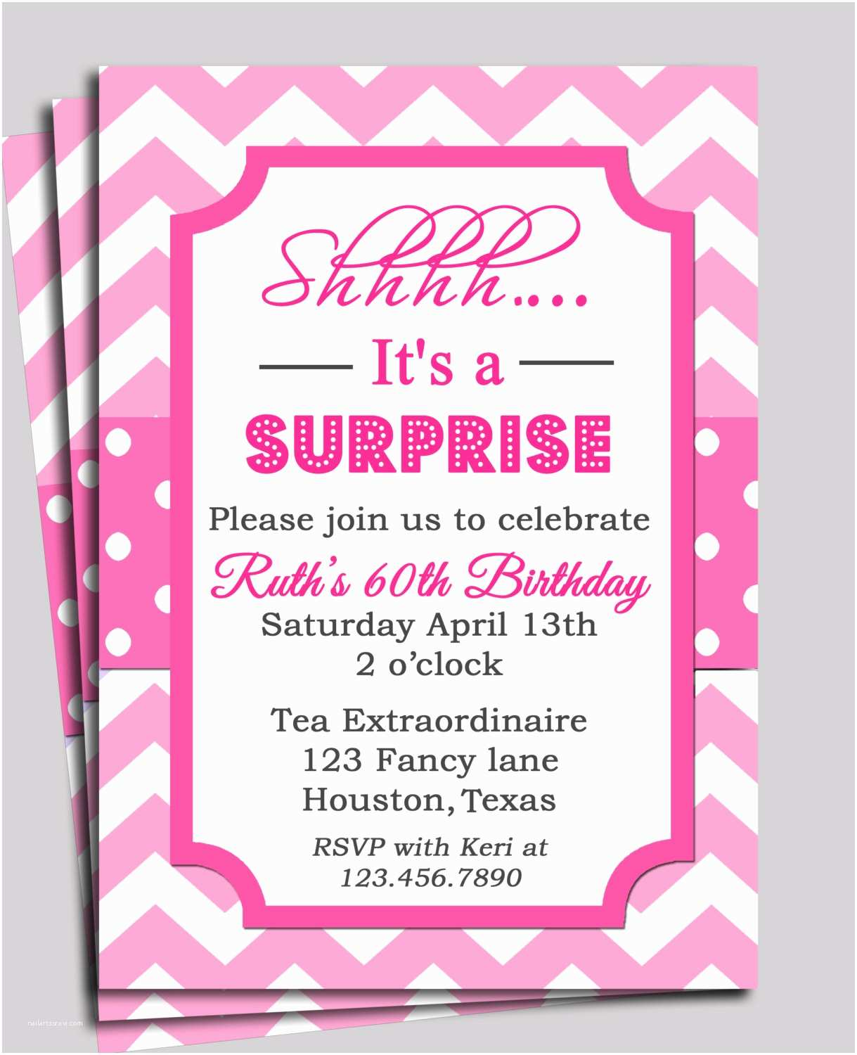 Surprise Baby Shower Invitations Chevron Invitation Printable or Free Shipping You Pick