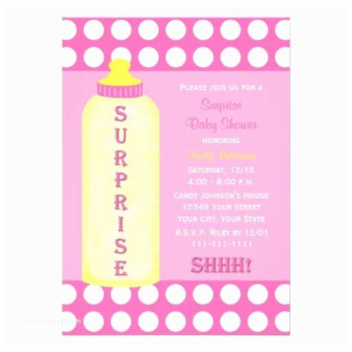 """Surprise Baby Shower Invitations Surprise Baby Shower Invitation Pink Baby Bottle 5"""" X 7"""