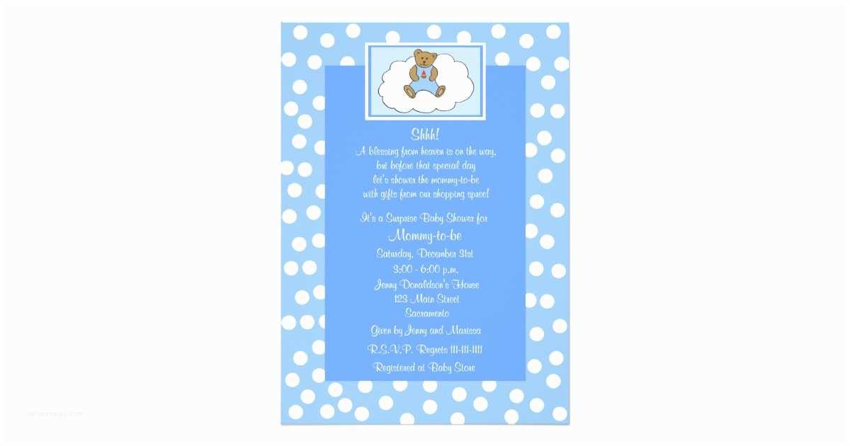 Surprise Baby Shower Invitations Surprise Baby Shower Invitation Teddy Bear Blue