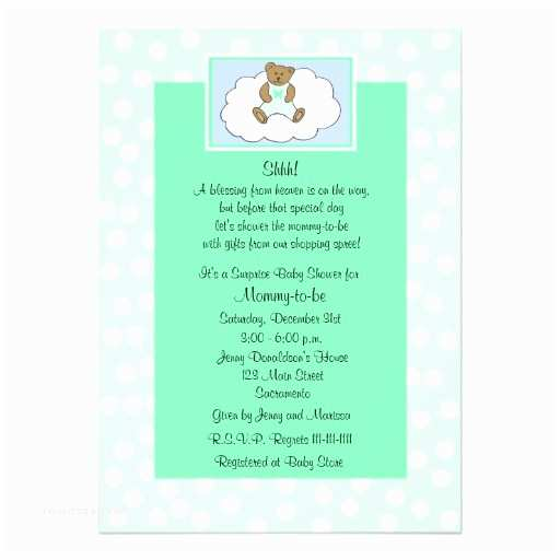 """Surprise Baby Shower Invitations Surprise Baby Shower Invitation Teddy On Green 5"""" X 7"""