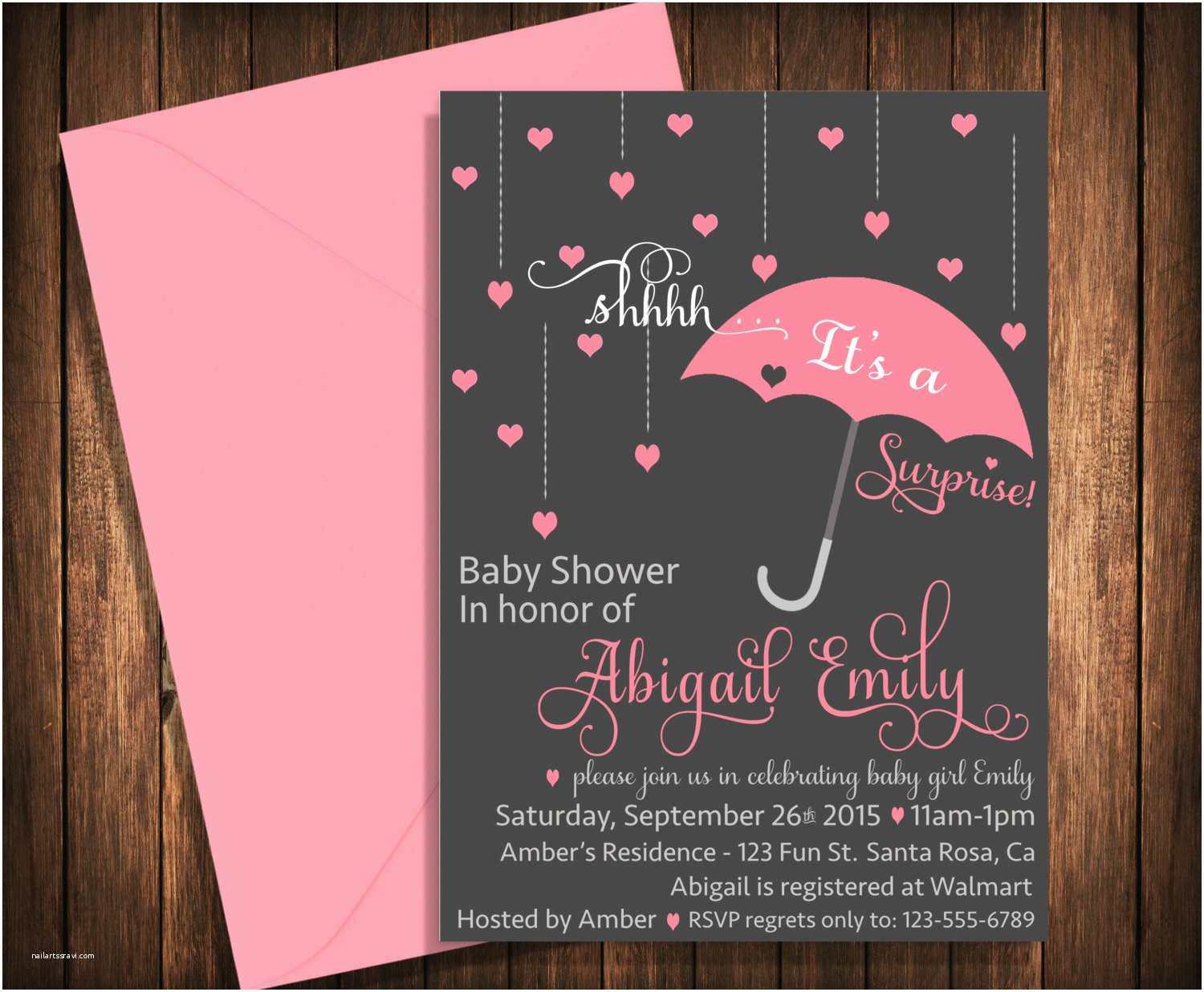 Surprise Baby Shower Invitations Surprise Baby Shower Invitation Umbrella Raindrops