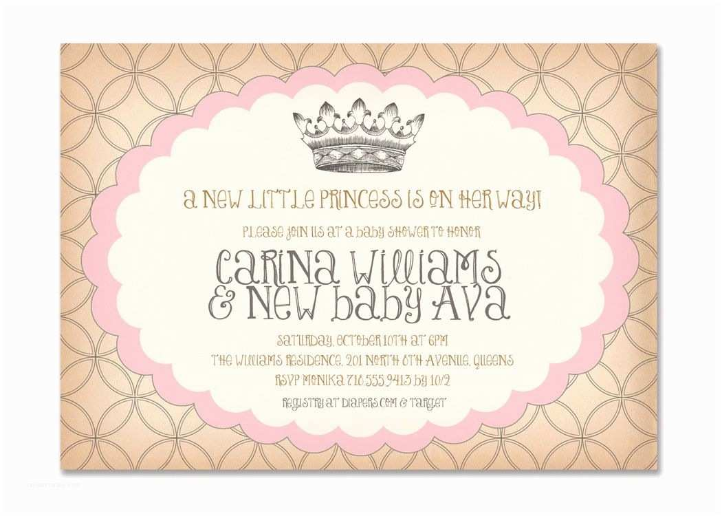 Surprise Baby Shower Invitations Vintage Princess Baby Shower Invitation Birthday Surprise