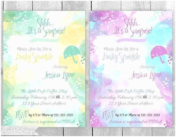 Surprise Baby Shower Invitations Watercolor Surprise Baby Shower Sprinkle Invitations by
