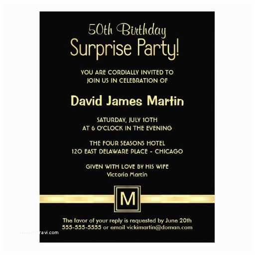 Surprise Birthday Invitation Wording 50th Birthday Surprise Party Sample Invitations Postcard