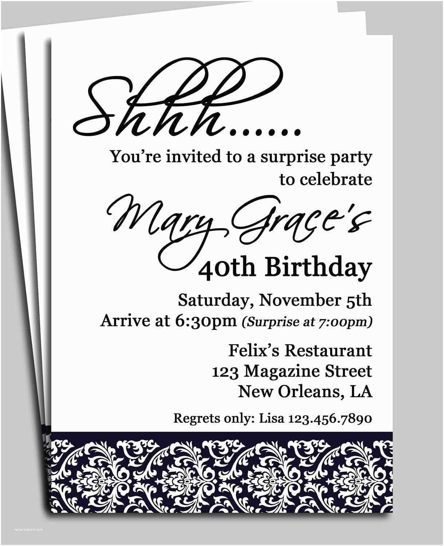 Surprise Birthday Invitation Wording Black Damask Surprise Party Invitation Printable or Printed