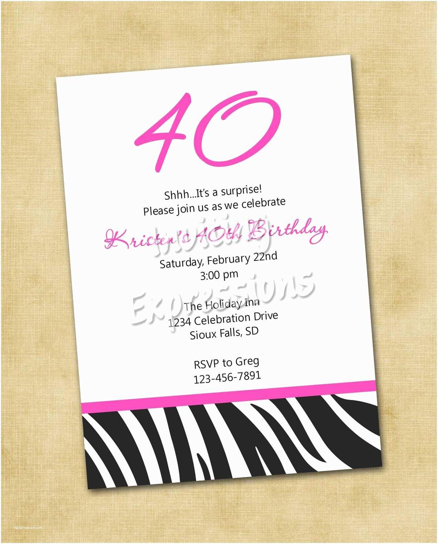 surprise 40th birthday invitation wording samples
