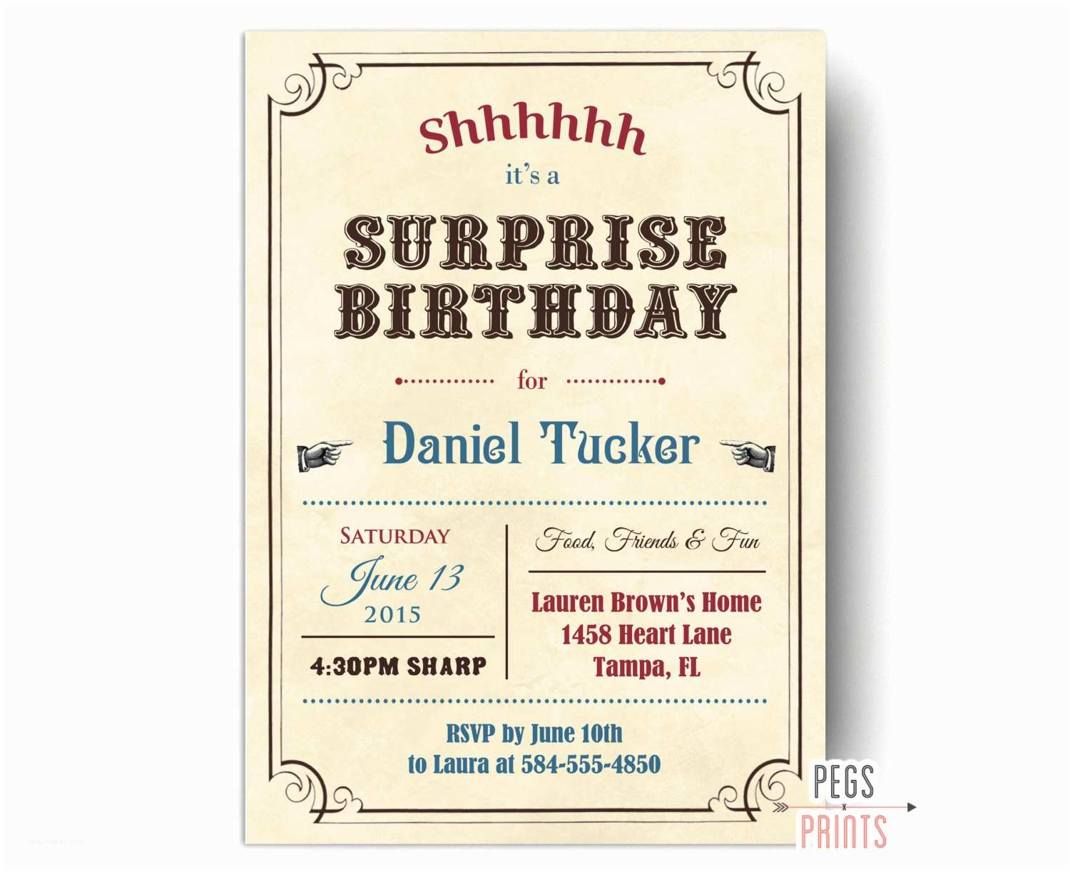 Surprise Birthday Invitations Adult Surprise Birthday Invites Vintage Surprise Party