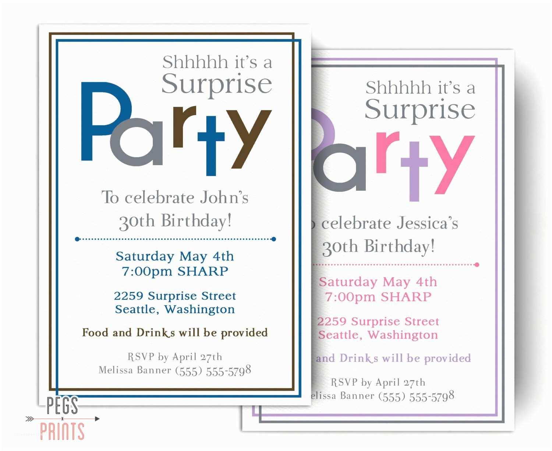 Surprise Birthday Invitations Surprise Birthday Invitations for Men or Women Printable