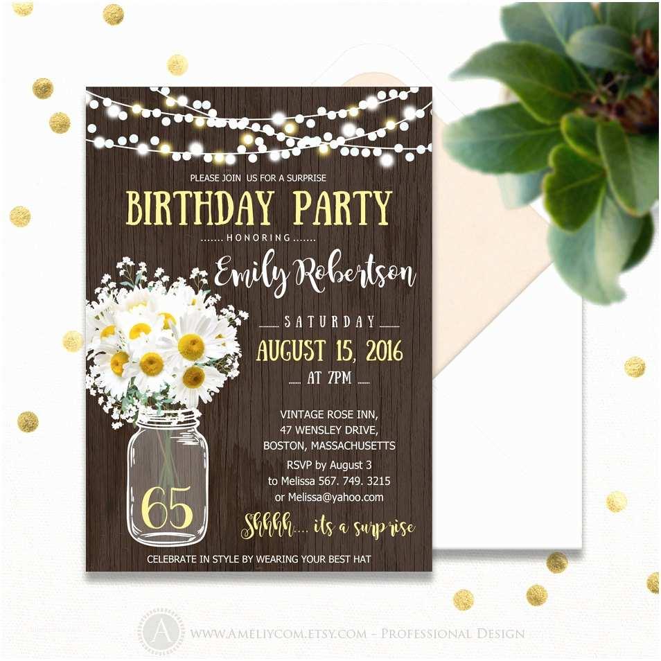 Surprise Birthday Invitations Surprise Birthday Invitations Printable Mason Jar & Daisy
