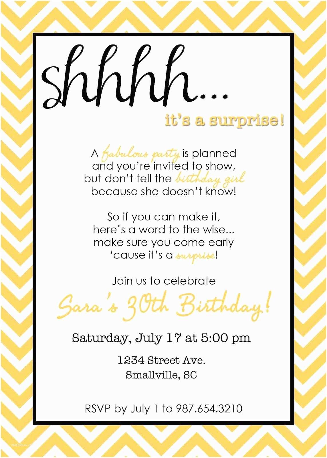 Surprise Birthday Invitations Wording for Surprise Birthday Party Invitations