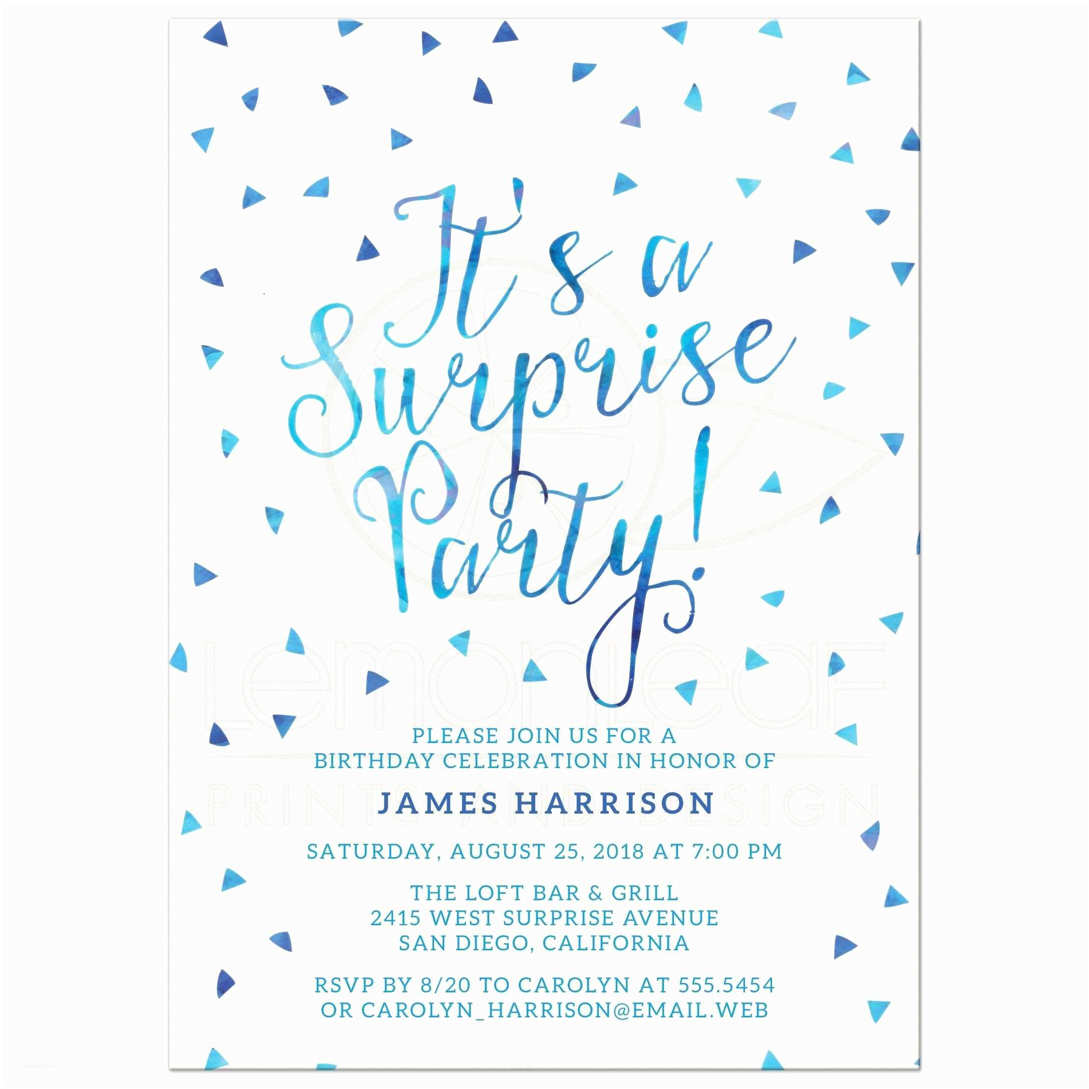 Surprise Birthday Party Invitations Blue Watercolor
