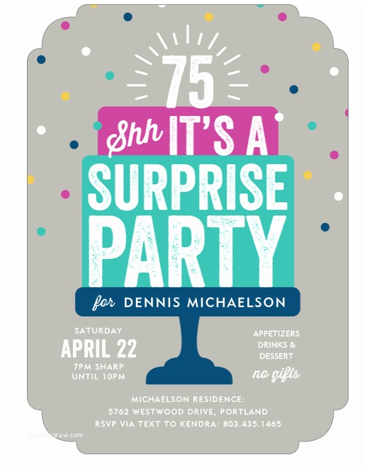 Surprise Party Invitation 75th Birthday Invitations 50 Gorgeous 75th Party Invites