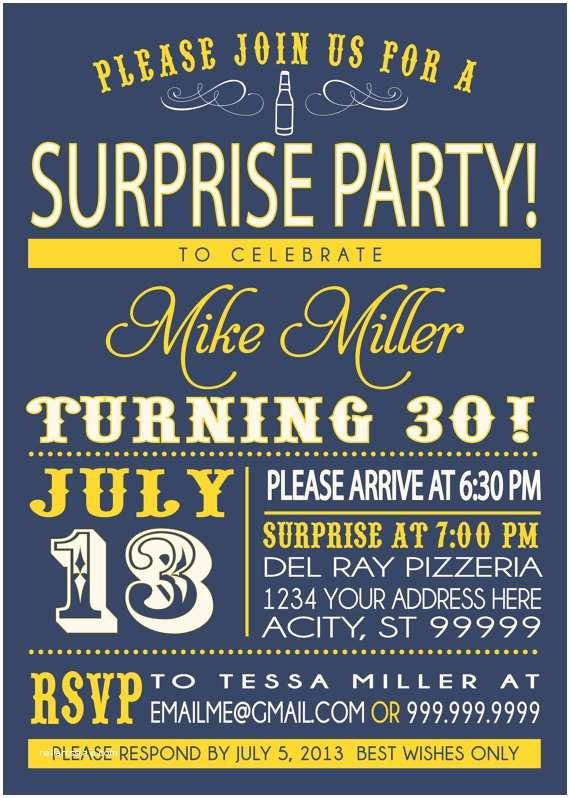 Surprise Party Invitation Birthday Party Invitation Surprise Party
