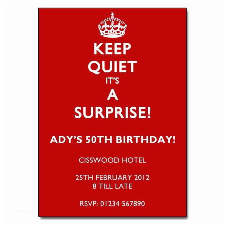 Surprise Party Invitation Keep Quiet It S A Surprise Party Invitations
