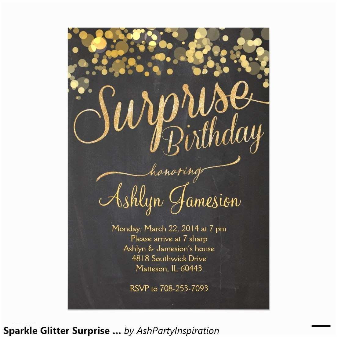 Surprise Party Invitation Sparkle Glitter Surprise Birthday Invitation