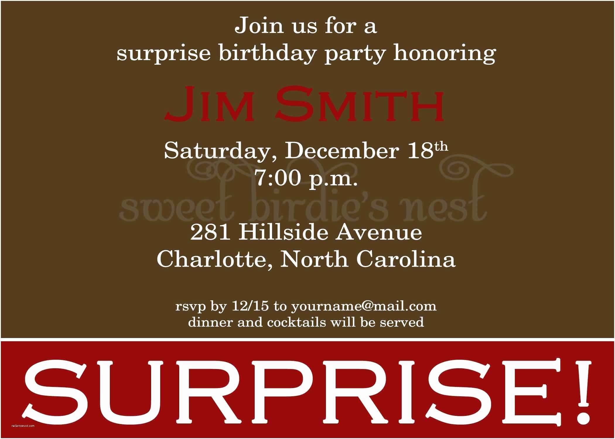 Surprise Party Invitation Sample