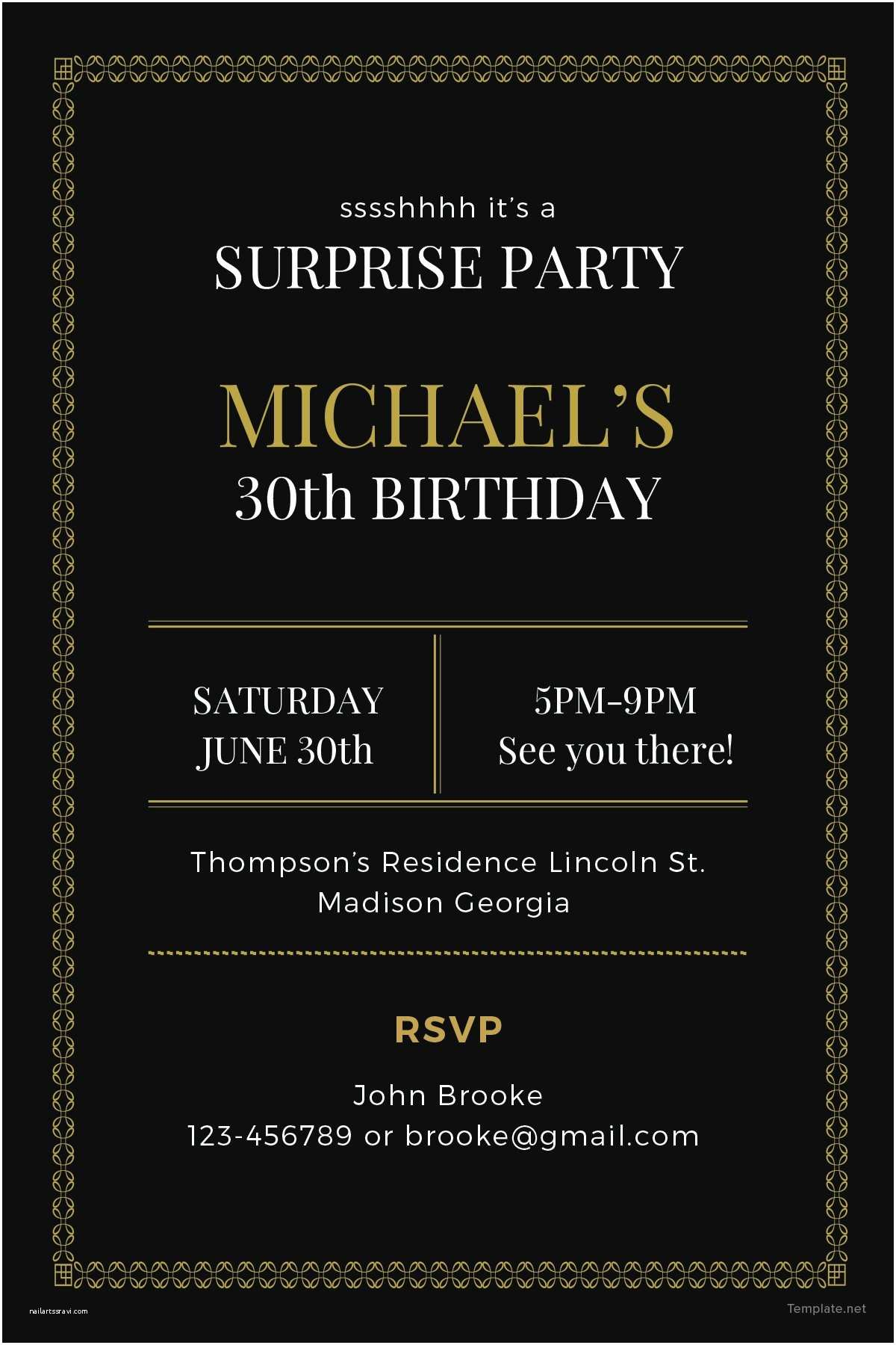 Surprise Party Invitation Template Free Surprise Party Invitation Template In