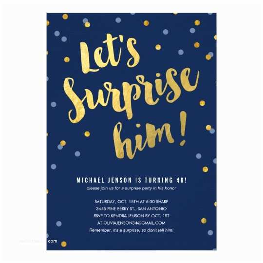 Surprise Party Invitation Template Gold Lettering Surprise Party Invitations For