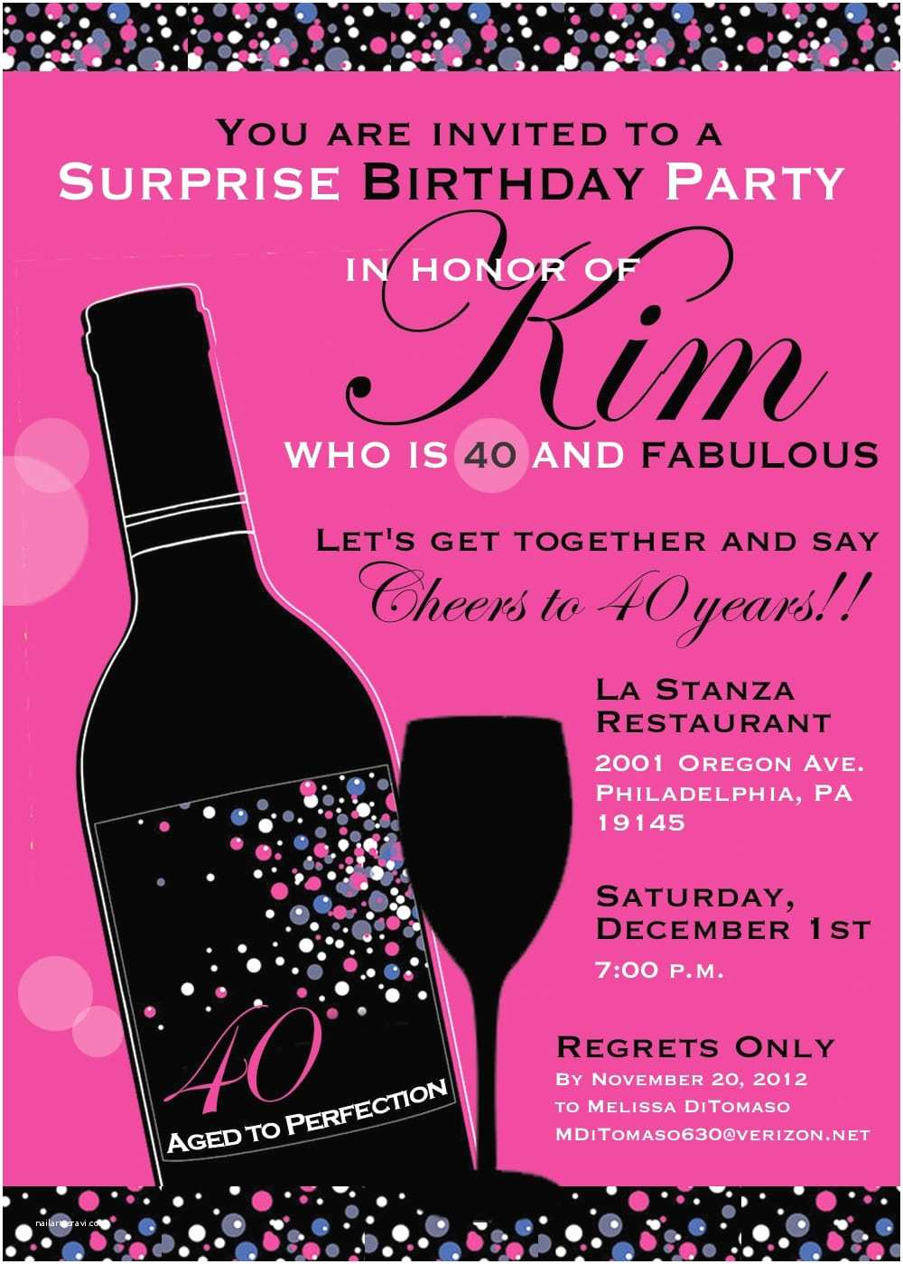 Surprise Party Invitation Template 40th Birthday