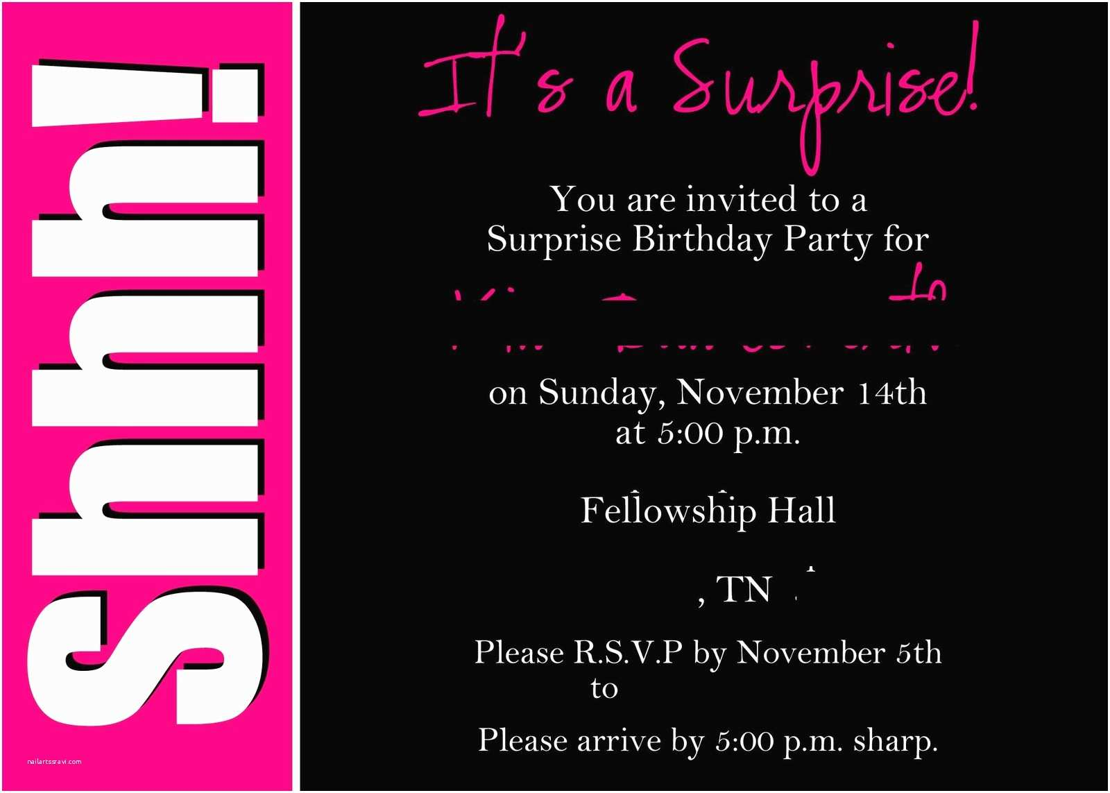 Surprise Party Invitation  Surprise Party Invitation Wording