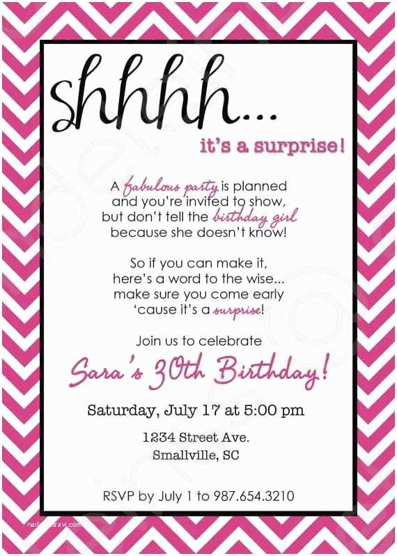 Surprise Party Invitation Wording Chevron Surprise Party Invitation