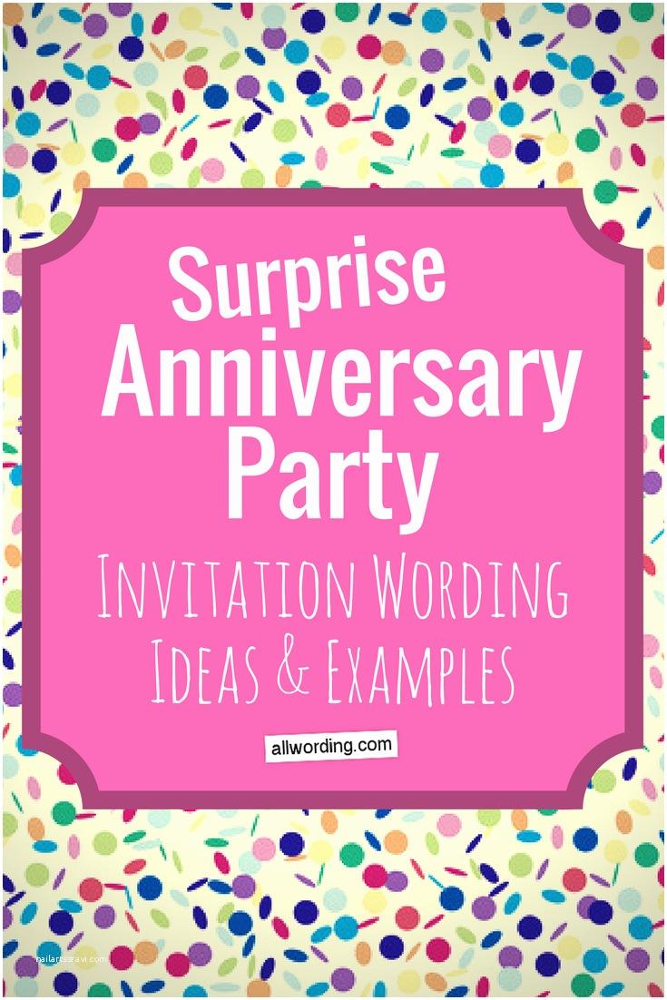 Surprise Party Invitation Wording Surprise Anniversary Party Invitation Wording