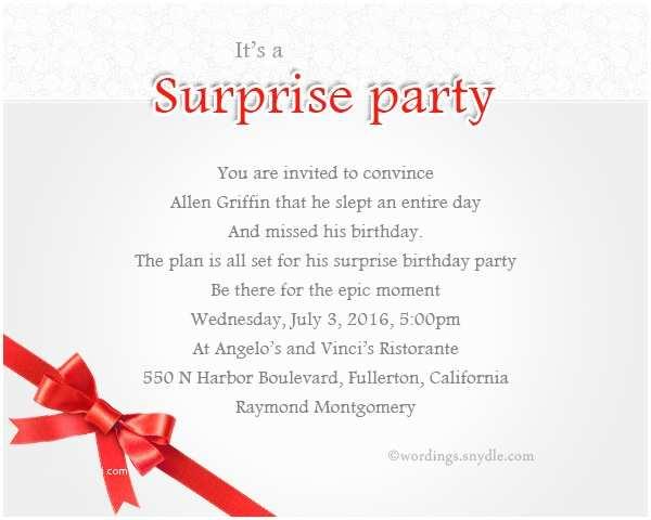 Surprise Party Invitation Wording Surprise Birthday Party Invitation Wording Wordings and
