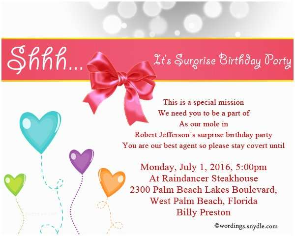 Surprise Party Invitation Wording Surprise Birthday Party Invitation Wording Wordings and