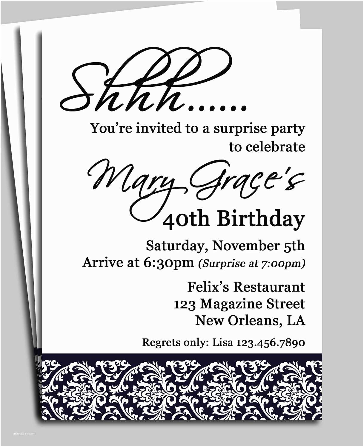 Surprise Party Invitations Templates Free Black Damask Surprise Party Invitation Printable Or