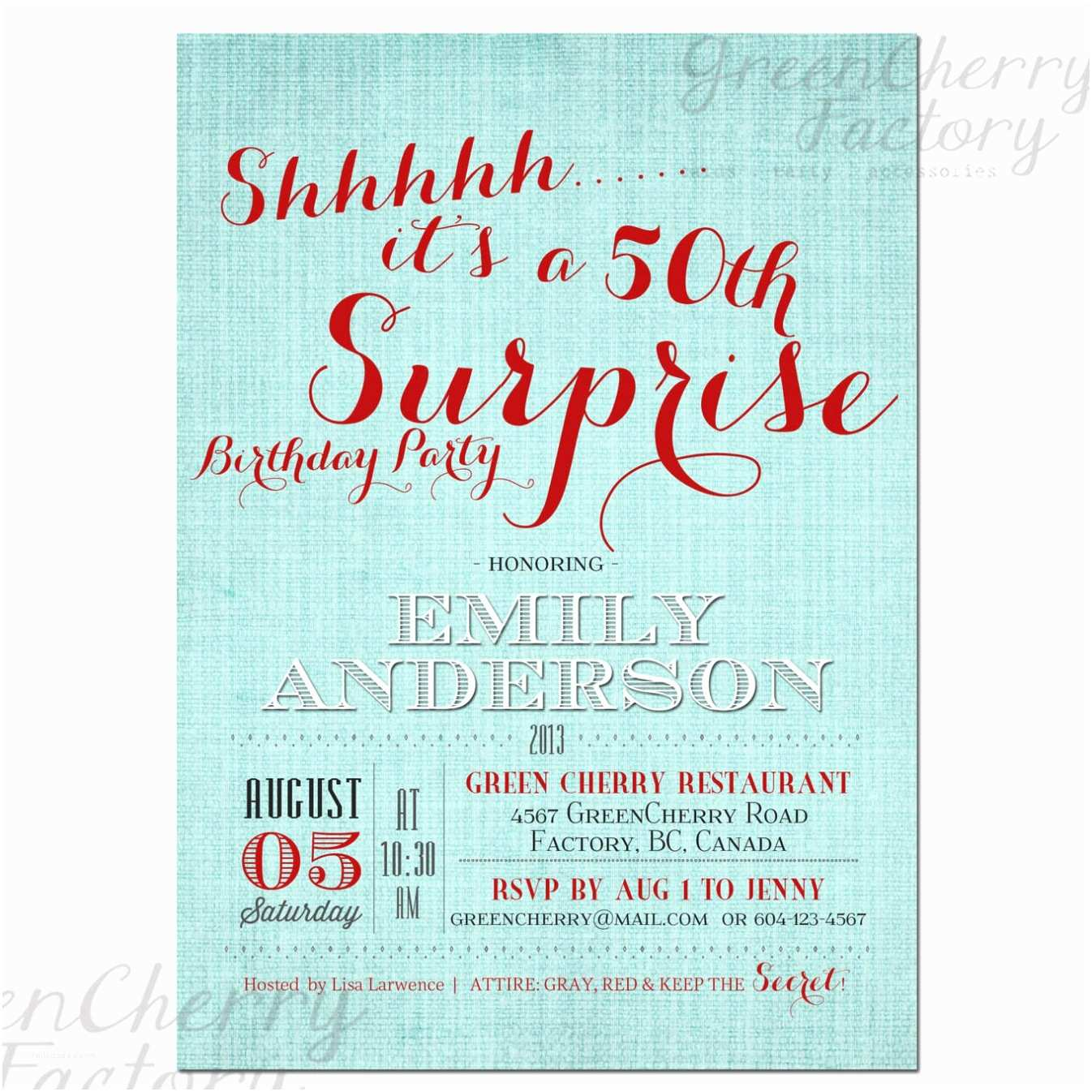 Surprise Party  Templates Free Party Invitation Templates 50th Surprise Party