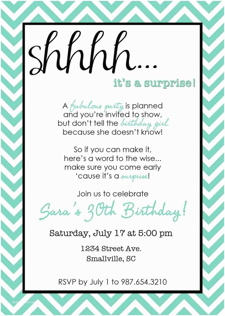 Surprise Party Invitations Templates Free Printable Chevron Surprise Party Invitation