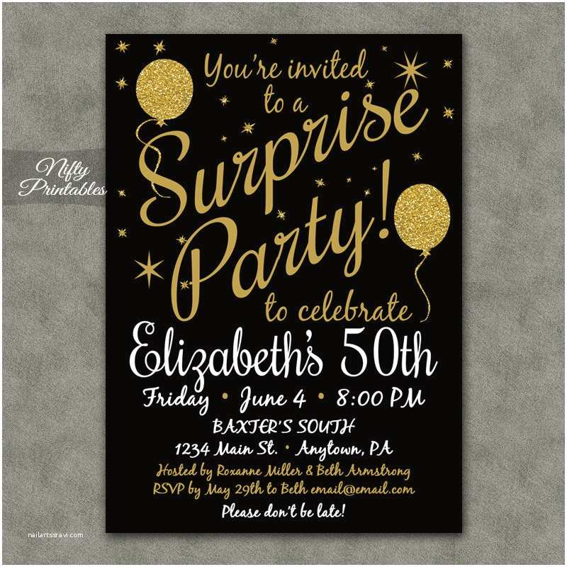 Party Invitations Templates Free  Party Invitations Printable Black & Gold