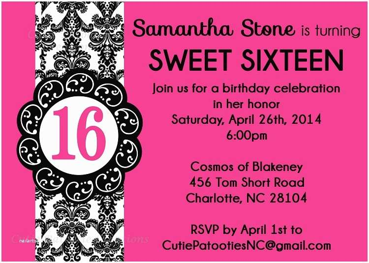 Sweet 16 Birthday Invitations For 16th Party