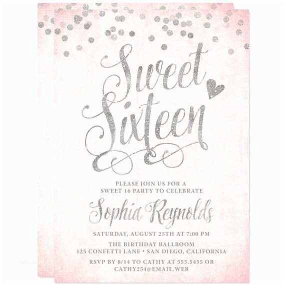 Sweet 16 Birthday Invitations Sweet 16 Invitations Blush Pink & Silver Confetti Sweet