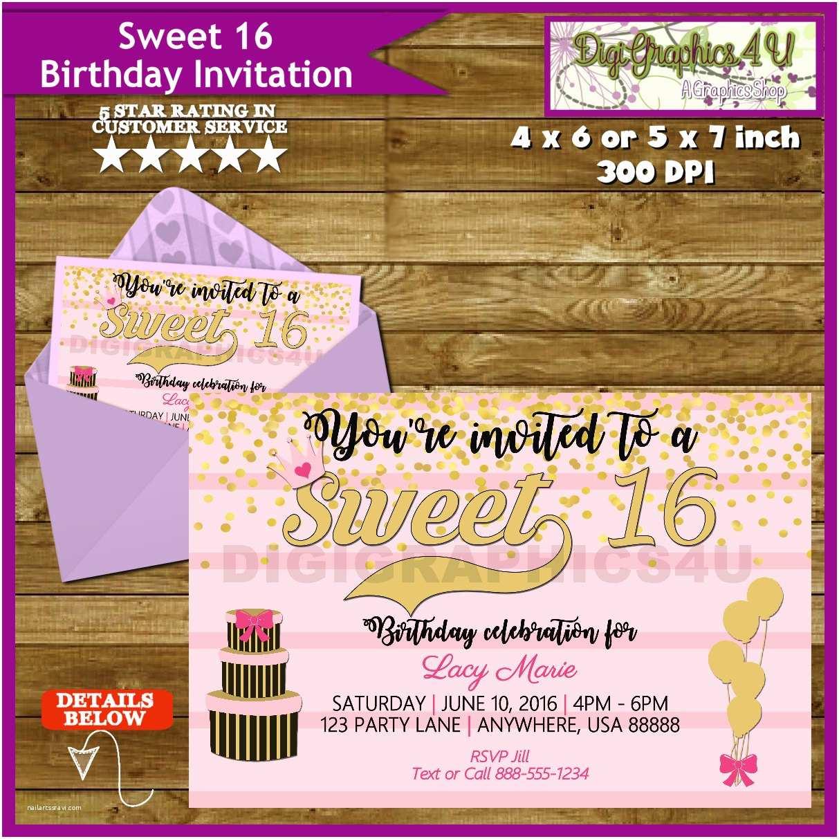 Sweet 16 Birthday Invitations Sweet 16 Sixteen 16th Birthday Party Invitation