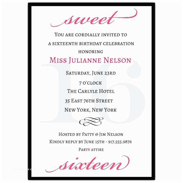 Sweet 16 Party Invitations Classic Pink Sweet 16 Birthday Invitations