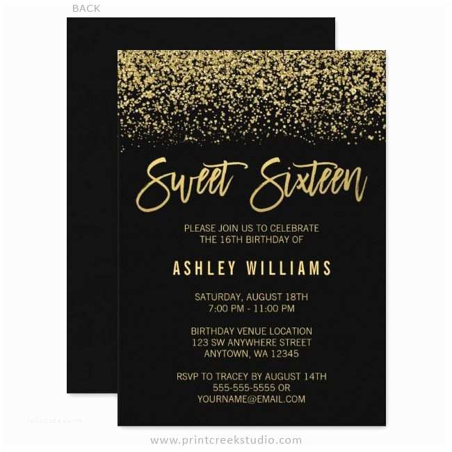 Sweet 16 Party Invitations Modern Black Faux Gold Glitter