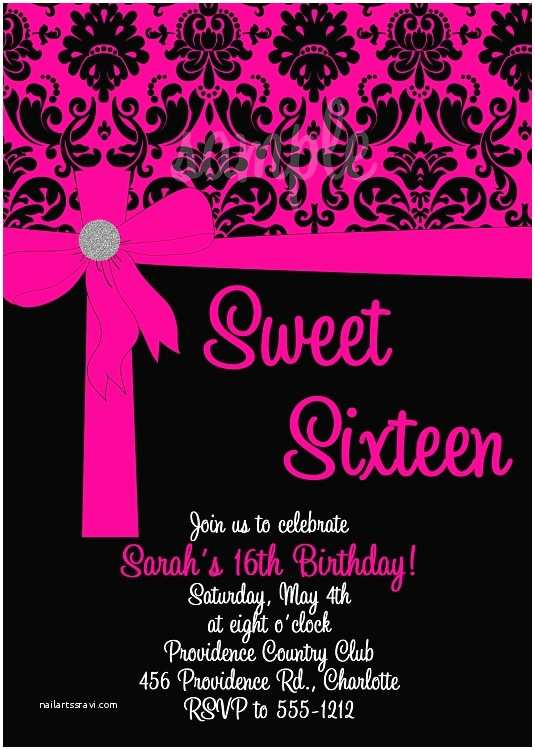 Sweet 16 Party Invitations Pink & Black Damask Sweet 16 Birthday Invitation Card