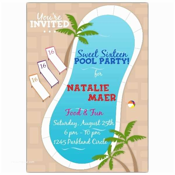 Sweet 16 Party Invitations Pool Party Invitation Sweet 16