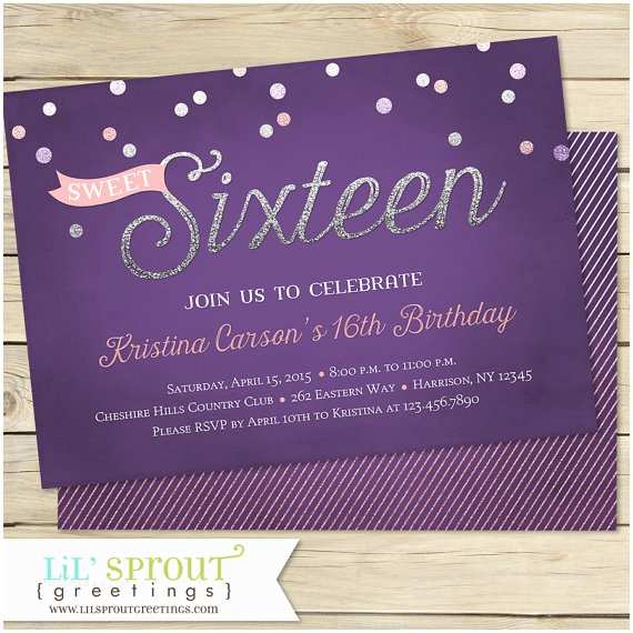Sweet 16 Party Invitations Sweet 16 Birthday Invitation Sweet Sixteen Birthday
