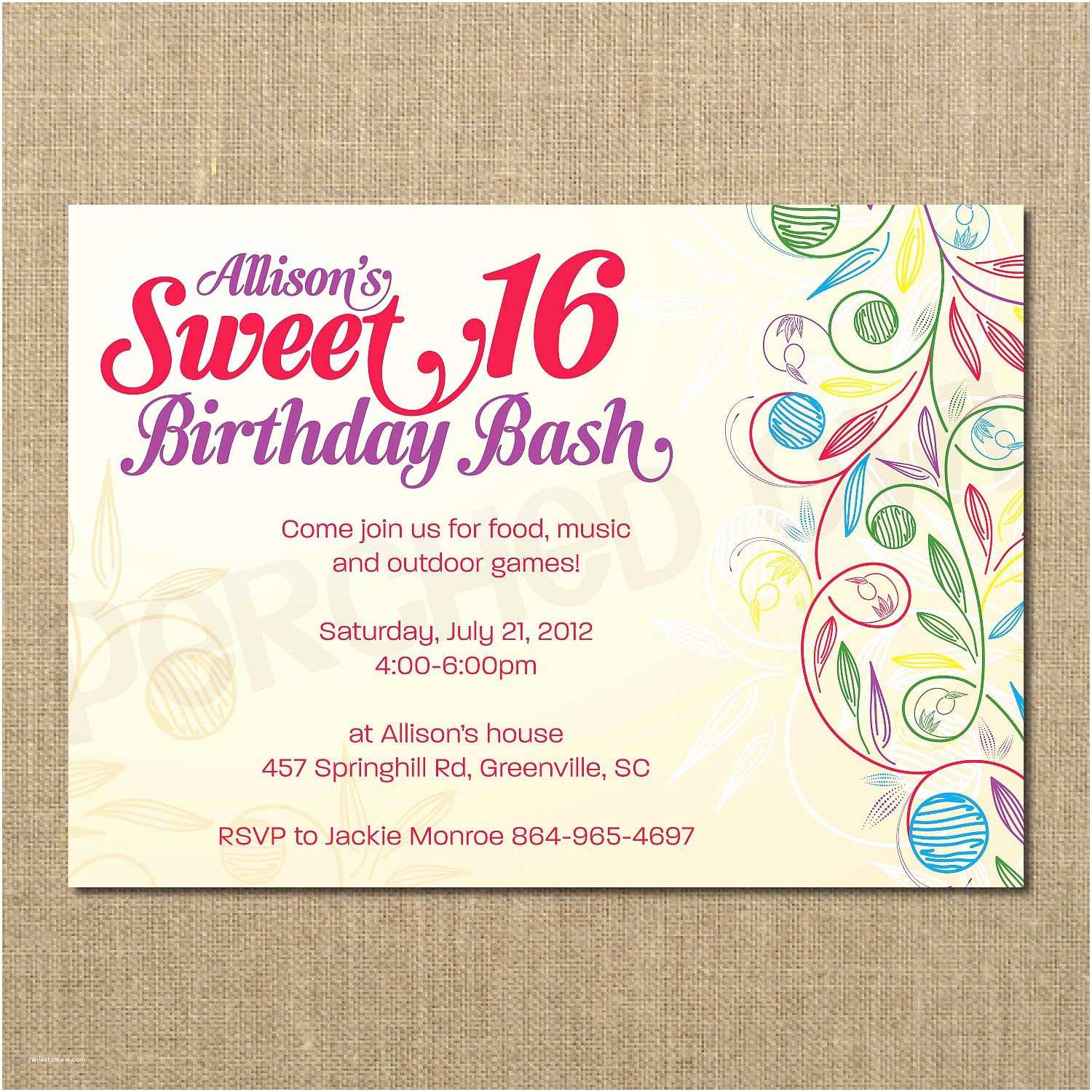 Sweet 16 Party Invitations Birthday Templates Free