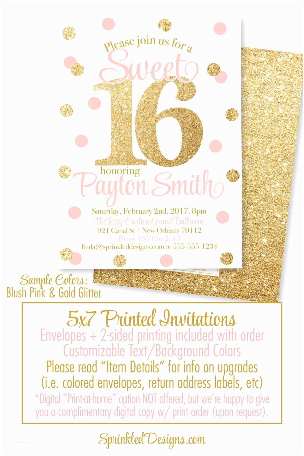Sweet 16 Party Invitations Sweet 16 Invitations Pink and Gold Glitter Sweet Sixteen