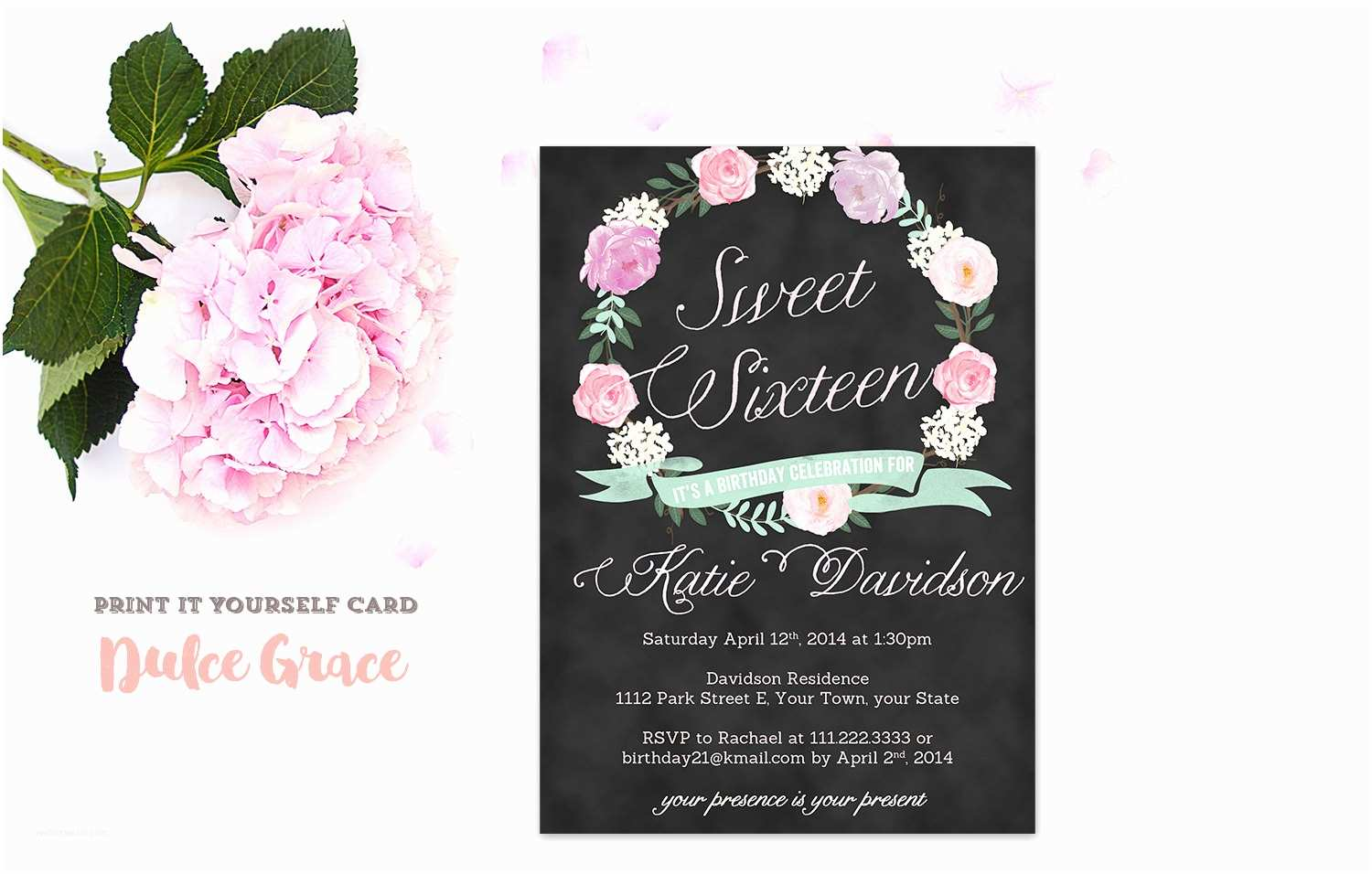 Sweet 16 Party Invitations Sixteen Invitation Printable