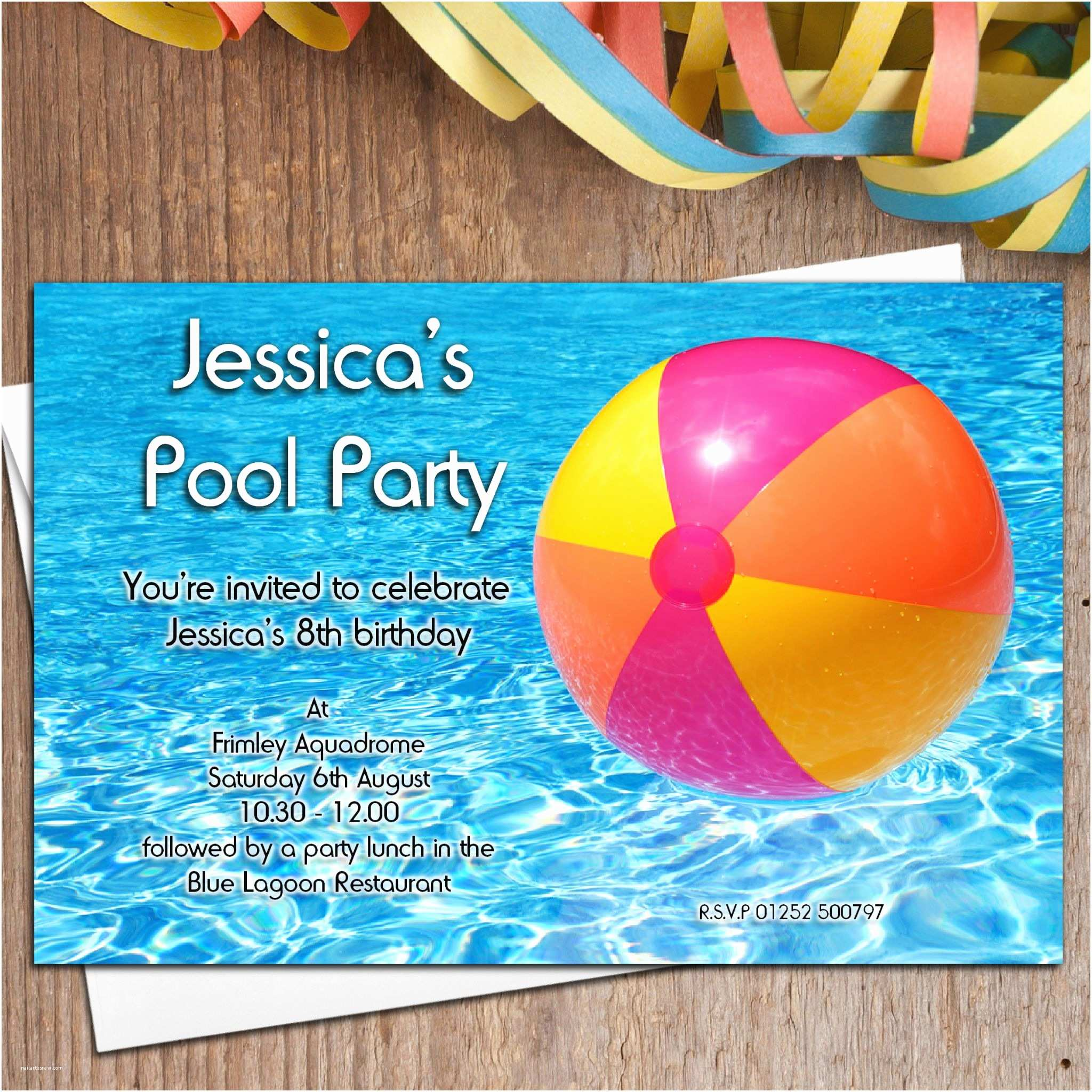 Swim Party Invitations 10 Personalised Swimming Pool Birthday Party Invitations N16