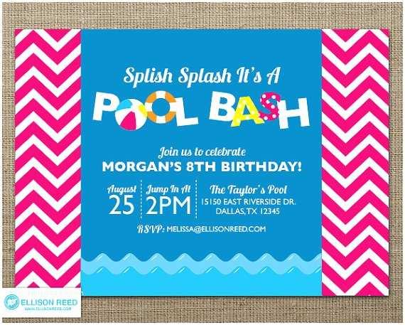 Swim Party Invitations Chevron Pool Party Invitation Swim Party Invitation