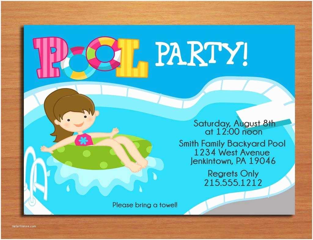 Swim Party Invitations Free Printable Birthday Pool Party Invitations