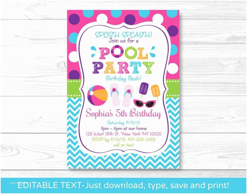 Swim Party Invitations Girls Pool Party Printable Birthday Invitation Editable