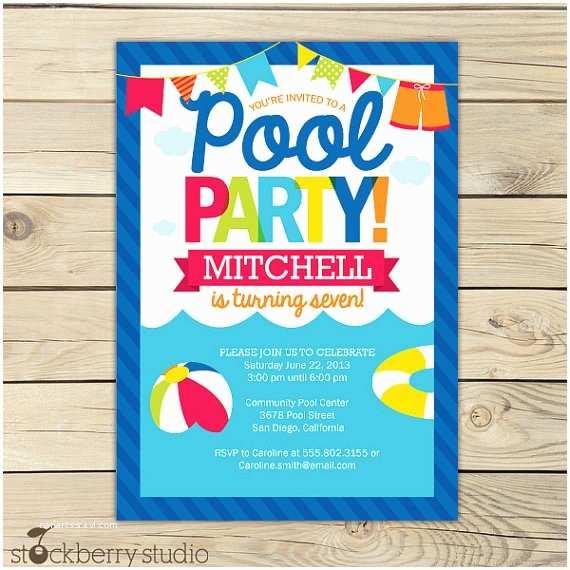 Swim Party Invitations Pool Party Birthday Invitation Printable Pool Party