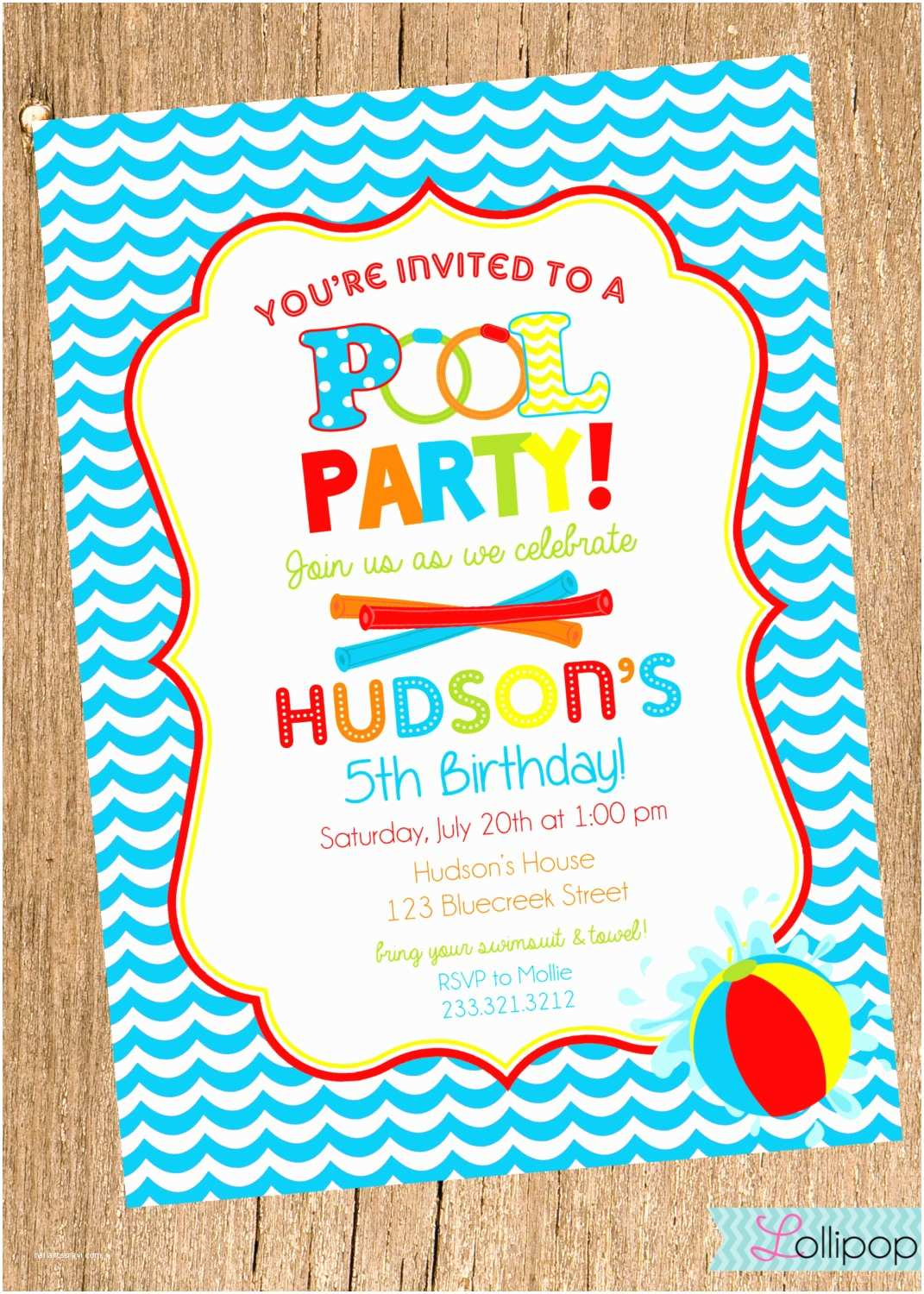 Swimming Party Invitations Dazzling Pool Party Invitation and Red Border Colors and