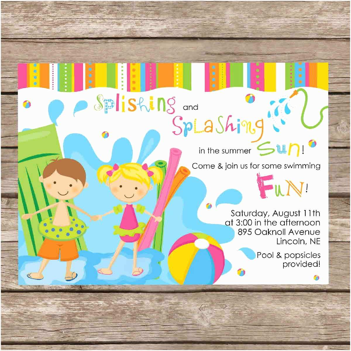 Swimming Party Invitations Funny Beach and Pool Invitation Card Design Ideas to